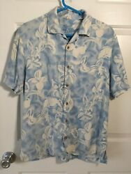 Tommy Bahama:TROPICAL FLORAL 100% SILK LIGHT BLUE AND WHITE: MEN#x27;S MEDIUM $19.50