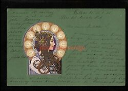 Art Nouveau Beautiful Womanand039s Head And Shoulders Postcard 1903 - An10
