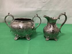 James Dixon And Sons Ornate Chased Work Two Piece Silver Plate Tea Set
