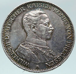 1914a Germany German States Prussia Wilhelm Ii Antique Silver 3 Mark Coin I87451