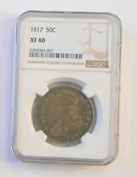 1817 Bust Half Dollar Xf-40 Ngc Graded Very Rare Silver Coin. From Local Estate.