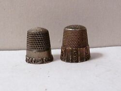 2 Vintage Sterling 925 Silver Ornate Thimble Mko And Simon Bros 13 Grams