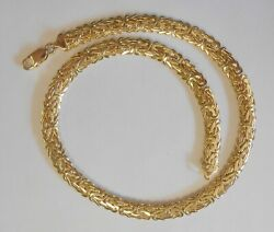 Designer Mt 585 14k Yellow Gold Byzantine Woven Necklace 9 Mm Wide 18 Heavy
