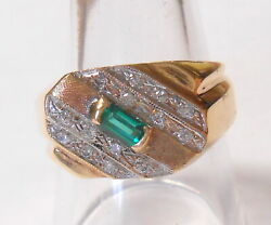 Vintage Modern Design 5x3 Emerald And Diamonds 14k Yellow Gold Mens Ring Size 10