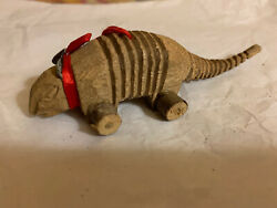 Antique Hand Carved Wooden Armadillo Christmas Tree Ornament