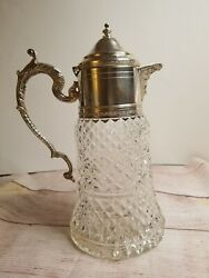 Vintage Crystal And Silver Pitcher
