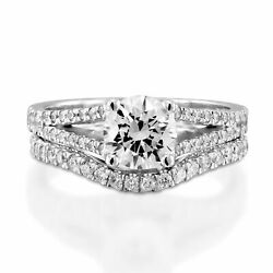2 1/5 Ct D/si1-si2 Real Diamond Engagement Ring Set Round Cut 14k White Gold