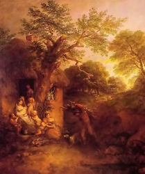 Oil Painting Thomas Gainsborough - The Woodcutters Return And Farmer's House Kids