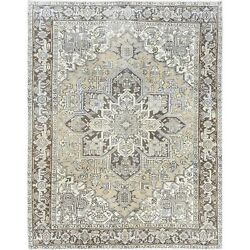8and0393x10and0396 Hand Knotted Semi Antique Washed Out Beige Farsian Heris Rug R60171