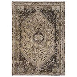 7and0391x10and039 Semi Antique Taupe Handknotted Farsian Sheeraz Bohemian Wool Rug R57848