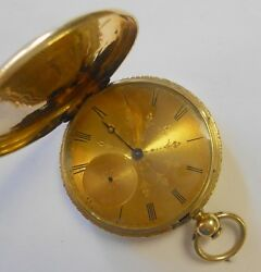 Brothers Vuille France 18k Solid Gold Antique Pocket Watch 21904 C.1850 Etched