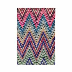 5and039x7and039 Colorful Hand Knotted Chevron Design Sari Silk - Textured Wool Rug R59531