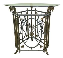 L32369ec Labarge Rams Head Brass And Iron Glass Top Center Table