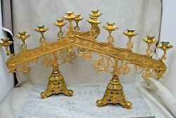 + Pair Of 120 Year Old Ornate French 6 Light Candelabra + Cu814 Chalice Co