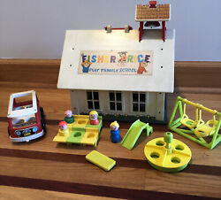 Vintage Fisher Price Little People Play Family School House 923 Mini Bus Desk