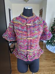 Hand Knit Ruffle Cardigan Sweater Half Sleeve Toggle Size S Or 6 Cashmere