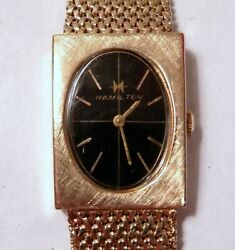 Hamilton 14k Yellow Gold Case And Wide Mesh Band Wrist Watch Black Face Vintage