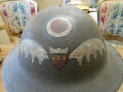 Rare Ww1 Us Aef Service Squadron 502nd Aero Squadron Painted Wings Helmet Andliner