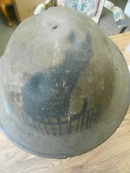 Ww1 Us Aef 174th Aero Squadron Black Cat Painted Named Soldier Helmet And Liner