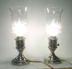 Pair Of Vintage Crest Silver Co Sterling Candle Stick Electric Hurricane Lamps