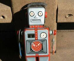 Original Linemar Tin Lithographed Wind-up Easel Back Mechanical Robot Tin Toy