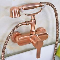 Antique Red Copper Wall Mounted Bathroom Hand Held Shower Head Faucet Set Fna318