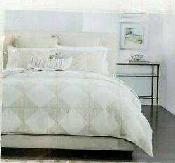 Hotel Collection Diamond Embroidery King Duvet Cover Ivory- Beige 420 Retail