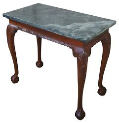 Vintage Chippendale Style Mahogany Carved Marble Hall Console Tables Ball Claw