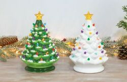 Vintage Inspired Ceramic Christmas Tree With Lights Music Plays 8 Songs Holiday