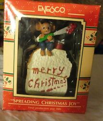 Enesco Ornament Spreading Christmas Joy Mouse W/ Toast And Jelly 1991 Nrfb