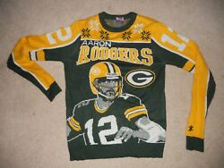 Green Bay Packers Football Ugly Christmas Sweater 12 Aaron Rodgers Qb Small Go