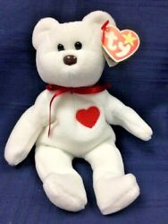 1993 Retired Ty Beanie Baby White Valentino Bear, Tag Errors Brown Nose Mint Pvc
