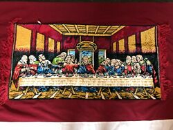 Vintage Tapestry Wall Hanging The Last Supper 20quot; x 38quot; Used Good Condition