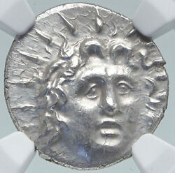 Rhodes Greek Island Off Caria Authentic Ancient Silver Ancient Coin Ngc I87185