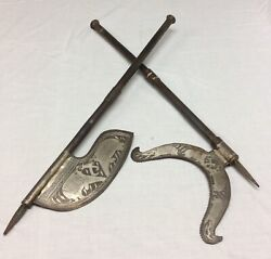 Antique Pair Of Hand Made Indo-persian Steel Tabar Battle Axe