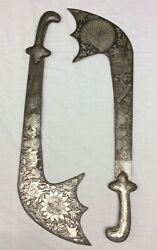 Antique Pair Of Hand Made Indo-persian Steel Battle Swords