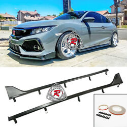 Tr-style Side Skirts Extension Carbon Look Fits 16-20 Honda Civic 2dr Coupe