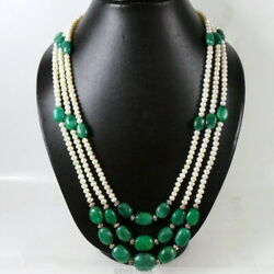 790 Ct Natural Emerald Pearl Gemstone Beaded Groom Royal Jewelry Necklace 38