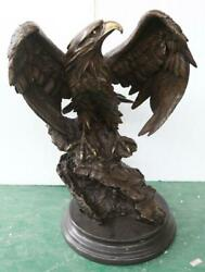 Large Bronze Sculpture Of An Eagle - 73cm High - Solid Marble Base - Signed