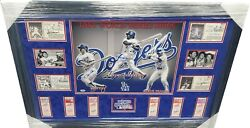 Ron Cey Steve Garvey Davey Lopes + Signed 1981 Ws Team Collage W/ 6 Tickets