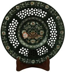 10 Black Collectible Plate Mop Inlay Floral Filigree Art Christmas Gift Special