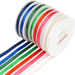Leqee 8 Colors 3/8 Inch Double Faced Satin Ribbon 25 Yard/roll Variety Of Colors