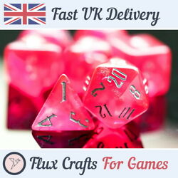 7pcs Red Acrylic Rpg Dice Set Glitter D20 Dnd Tabletop Dungeons Flux Crafts
