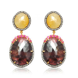 Gracious Wonder And Yellow Sapphire Ruby Diamond 925 Sterling Silver Drop Earrings