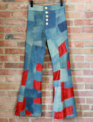 Vintage 70and039s Edgar Winter Custom Made Patchwork Stage Pants Unisex Size 27 W