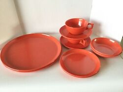 10 Pc Retro Spaulding Ware Plates, Bowls, Cup And Saucers Orange Red Melmac 1950s