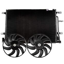 Valeo Left And Right Engine Cooling Fans And A/c Condenser Kit For Audi A4 Quattro