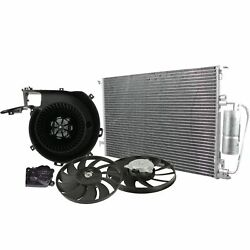 Valeo Blower Motor W/ Actuator Condenser And 2 Cooling Fans Kit For Saab 9-3 03-06