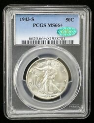 1943-s Walking Liberty Silver Half Dollar Pcgs Ms66+ Cac Certified - 07421