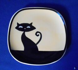 Cat Plate Huesnbrews 4 3/4 Black Cat On Yellow Background Thailand